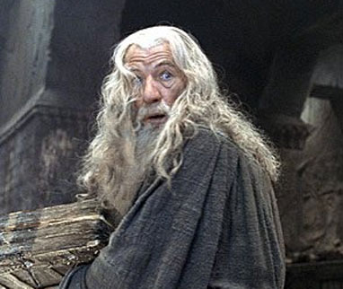 Gandalf, in an early case of being caught reading pornography by a close relative.